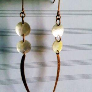 Handmade Shell Earrings, Long Copper Earrings